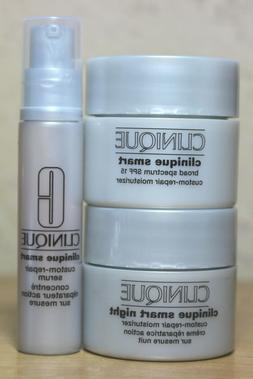 3 CLINIQUE SMART DAY NIGHT CREAM SERUM MINI LOT NWOB FREE SH