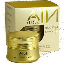 Nia Gold Luxury Anti-Aging Skin Care. Retinol Night Cream wi
