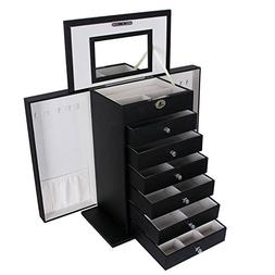 SONGMICS Black Jewelry Box Large Cabinet Faux Leather Storag
