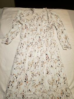 A New Day Cream Multi Color Long Sleeve Dress Size M Stretch