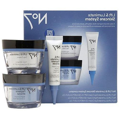 Boots No7 Lift and Luminate 3 Piece Skincare System Eye Day&