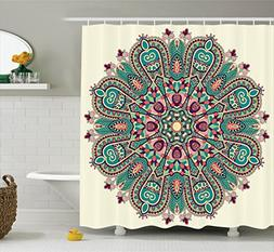 Ambesonne Mandala Decor Collection, Pastel Mandala Indian Sy