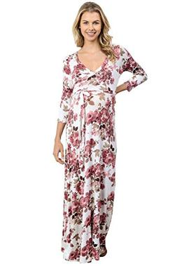 Hello MIZ Women's Maternity Maxi Dress with Waist Belt