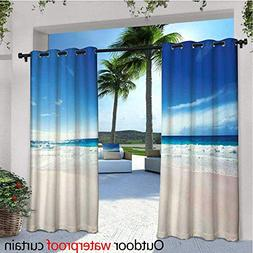 cobeDecor Ocean Balcony Curtains Fantastic Beach Scenery wit