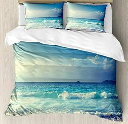 Ambesonne Ocean Duvet Cover Set Queen Size, Tropical Island