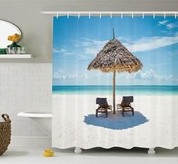 seaside decor shower curtain set ambesonne wooden sun lounge