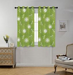 Stylish Window Curtains,Dragonfly,Sketch Style Dandelion Flo