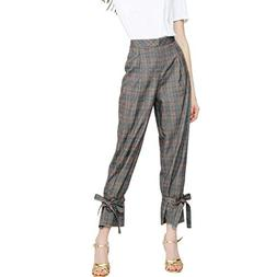 Binmer Women Casual Plaid Printing Pants Pants Trousers Ladi